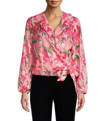 ava & aiden women's ruffle floral wrap blouse - island floral - size s