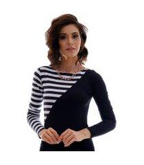 blusa com duas cores preto e listras pretas e brancas feminina manga longa decote canoa