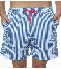 short masculino estampado listra azul com cadarço rosa - area verde - kanui