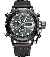orologio da polso da uomo impermeabile al quarzo con display a doppio display digitale in pelle da uomo