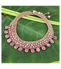 rhodonite and chalcedony choker, 'fantastic pink' (thailand)