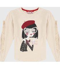 camiseta manga larga beige-rojo-negro boboli