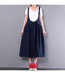 zanzea mujeres sin mangas de una línea de la liga del vestido de la falda del patinador correas tops -azul