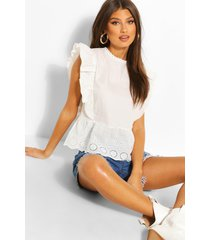 frill broderie high neck top, white