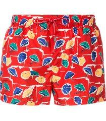 dolce & gabbana parasol print swim shorts - red