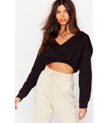 womens let it v cropped sweatshirt - black