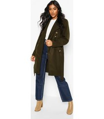belted pocket detail wool look coat, khaki