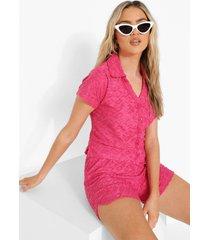 ofcl korte badstoffen blouse met reliëf, hot pink