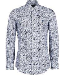 overhemd lange mouw polo ralph lauren chemise cintree slim fit en popline de coton col boutonne logo p