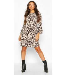 crew neck mini dress with tiered frill sleeves, camel