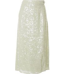 lapointe sequin belted wrap skirt - green