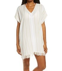 women's billabong walk away cover-up top, size medium - ivory