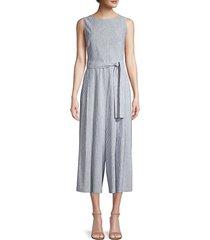 lafayette 148 new york women's arthur pinstripe tie jumpsuit - blue dusk - size 8