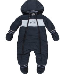 hugo boss blue and light blue overall for baby boy with logo