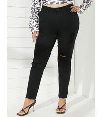 pantalones con detalles rasgados al azar de cinco bolsillos clásicos de talla grande