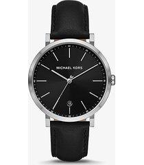 mk set con orologio irving tonalità argento e porta carte di credito in pelle a grana incrociata - nero (nero) - michael kors