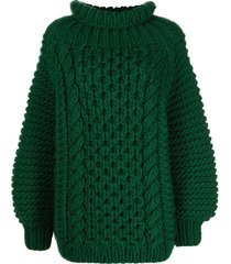i love mr mittens cable-knit jumper - green