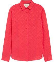 women's gucci gg check silk crepe jacquard shirt, size 2 us / 38 it - pink