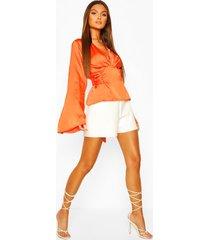satin tie waist flare sleeve blouse, orange