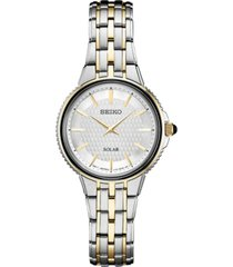 seiko women's solar essentials two-tone stainless steel bracelet watch 29mm