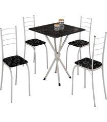 mesa com 4 cadeiras para cozinha rio teixeira branca - branco - dafiti