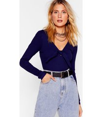 womens bow us how ribbed high-leg bodysuit - navy