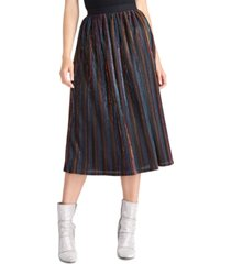 rachel rachel roy juniors' metallic-striped midi skirt
