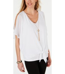 jm collection petite cold-shoulder necklace top, created for macy's
