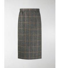 maison margiela plaid-check wool pencil skirt