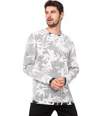 camiseta forum floral branca/preta - branco - masculino - poliã©ster - dafiti