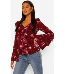 geweven bloemenprint blouse met ruches, berry