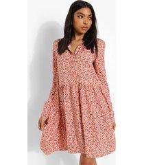 tall bloemenprint blouse jurk met panelen, blush