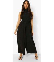 wide leg culotte jumpsuit met hoge hals en laagjes, black