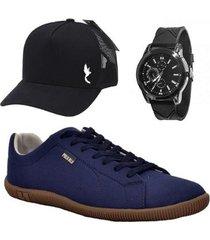 kit sapatênis casual masculino lona liso + relógio + boné - masculino
