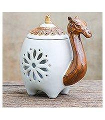 ceramic oil warmer, 'desert fragrance in white' (thailand)