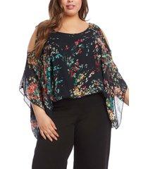 plus size women's karen kane cold shoulder floral scarf top, size 2x - black