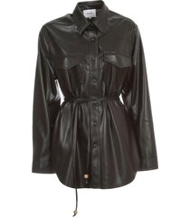 nanushka eddy shirt l/s patchwork faux leather