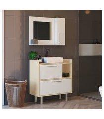 conjunto balcão e espelheira para banheiro criando mobilia 3 portas