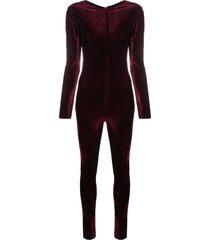 alchemy velvet-effect jumpsuit - red