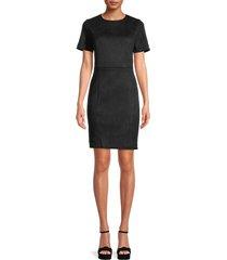 t tahari women's faux suede sheath dress - black - size 14
