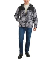 guess men's hooded colorblocked jacket