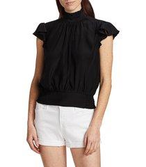 frame women's victorian ruffle silk top - noir - size s