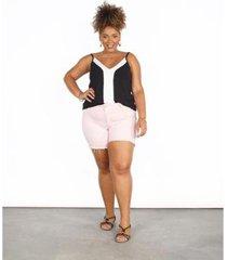 bermuda sarja color feminina plus size - feminino
