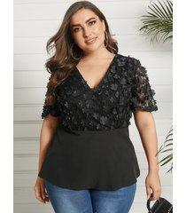 plus talla cruzada con cuello en v diseño blusa de encaje de manga corta