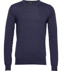 lyle-true merino gebreide trui met ronde kraag blauw j. lindeberg