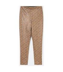 calça legging animal print com ziper lateral | cortelle | bege | p