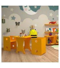 conjunto de mesa quadrada infantil com 2 bancos | banquetas kitcubos amarelo