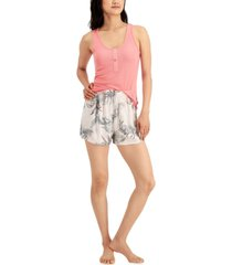 jenni by jennifer moore tank & shorts pajama set, created for macy's