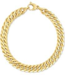 fancy link wide bracelet in 14k gold