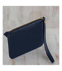 leather wristlet, 'trendy fashion in navy' (brazil)
